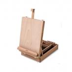 Мольберт Малевичъ настольный, бук, с ящиком, высота от 52 до 66 см., габариты ящика: 26х37х9 см.