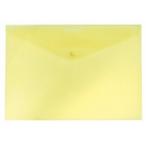Папка-конверт А4 на кнопке Бюрократ Economy желтая,  тисненый пластик, 0.10мм.