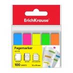 Закладки самоклеящиеся Erich Krause 5х12х44 неон пластик, европодвес