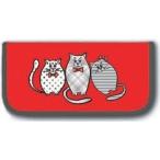 Пенал Феникс Котики на красном б/нап., полиэстр, молния, 20х10х2.5см.