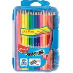 Карандаши 15-ти цв. Maped Color Peps в пластик. пенале, точилка, ластик, поворот крышки на 360гр.