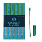 Ручка шариковая Schneider Tops 505 M зеленая, прозрачный корпус, 0,5мм.