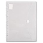 Папка-конверт А4 на кнопке Бюрократ с перфорацией по длинной стороне, прозрач. пластик, 0.18мм.