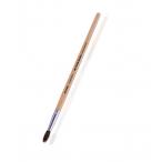 Кисть Mazari пони №9 художественная, круглая, обойма обжимная, ручка деревянная