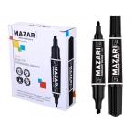 Маркер Mazari Duo черный, перманентный, двусторонний, пулевид. и клиновид., пиш. узлы 2/6 мм.