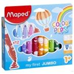 Фломастеры 12цв MAPED Color Peps Jumbo Mini Power макси, смываемые, со штампами