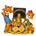 Фигурка декоративная в стеклянном шаре Тигр, 9см