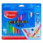 Мелки восковые 12цв. MAPED Color Peps twist выкручивающиеся, пакет, европодвес