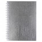 Записная книжка А6  Хатбер  80л. спираль Metallic.Серебро клетка