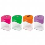 Точилка Хатбер 2 отв., с контейнером, пластиковая, цветная,