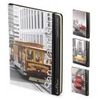 Блокнот  А5  Альт 100л. Megapolis journal.Города на резинке, тв. переплет, матов.ламин, 4 вида
