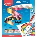 Карандаши 24 цв. MAPED Color Peps Oops с ластиком, пластиковые,  в картонной коробке с подвесом