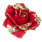 Цветок lefard роза искусственный, d-15 см., на клипсе