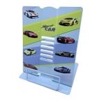 Подставка д/книг Спорткар металлическая, 26x21см, голубая, в ПВХ-пакете