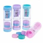 Точилка ХАТБЕР NewTone 2 in1, 1отв., с контейнером, пластик, цветная, с ластиками, крышка, 4в