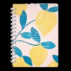 Записная книжка А6 Be Smart  80л. спираль Pastel.Лимоны клетка, микротекстур., ламинация, скр.углы