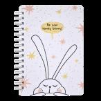 Записная книжка А6 Be Smart 120л. спираль Bunny.Белый клетка, микротекстур., ламинация, скр.углы