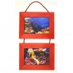 Рамка д/фото Фотолайт Сосна 21x30см., красная, двойная, подвесная