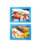 Рамка д/фото Фотолайт Сосна 21x30см., голубая, двойная, подвесная