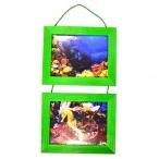 Рамка д/фото Фотолайт Сосна 21x30см., зеленая, двойная, подвесная
