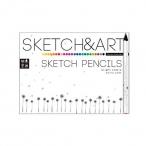 Карандаши 24 цв. Sketch and Art трехгранные, утолщен., 4мм.грифель,  для скетча
